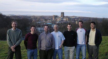 Photograph of Colin Bain with Six Members his Group, Mount Joy, Durham, December 2005: (from left to right) Colin Bain, Tom Fennerty, Richard Campbell, Daniel Colegate, Philip Ash, James Day and Chongsoo Lee